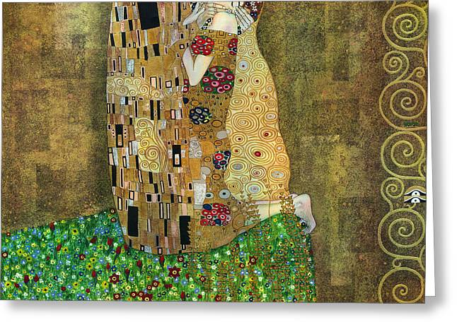 Yakubovich Greeting Cards - My acrylic painting as an interpretation of the famous artwork of Gustav Klimt The Kiss - Yakubovich Greeting Card by Elena Yakubovich