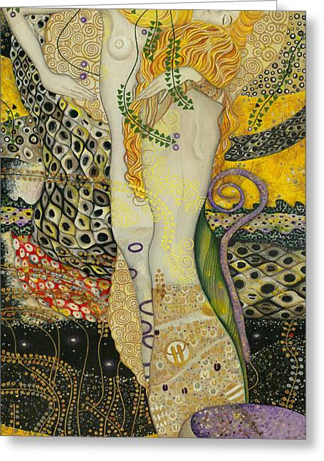 Search Drawings Greeting Cards - My acrylic painting as an interpretation of the famous artwork of Gustav Klimt - Water Serpents I Greeting Card by Elena Yakubovich