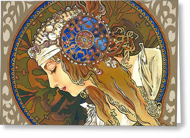 Gold Necklace Greeting Cards - My Acrylic Painting As Interpretation of Alphonse Mucha- Byzantine Head. The Blonde. Diagonal frame. Greeting Card by Elena Yakubovich