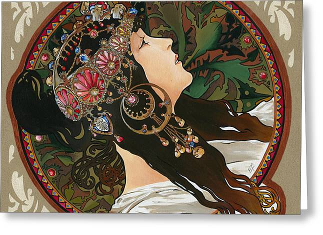 Yakubovich Greeting Cards - My Acrylic Painting As Interpretation Of Alphonse Mucha - Byzantine Head The Brunette Diagonal frame Greeting Card by Elena Yakubovich