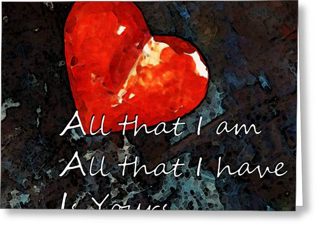 My All - Love Romantic Art Valentine's Day Greeting Card by Sharon Cummings