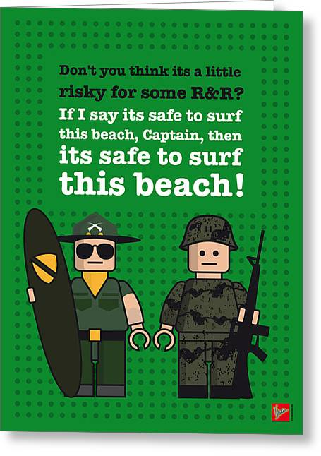 Marlon Brando Poster Greeting Cards - My apocalypse now lego dialogue poster Greeting Card by Chungkong Art