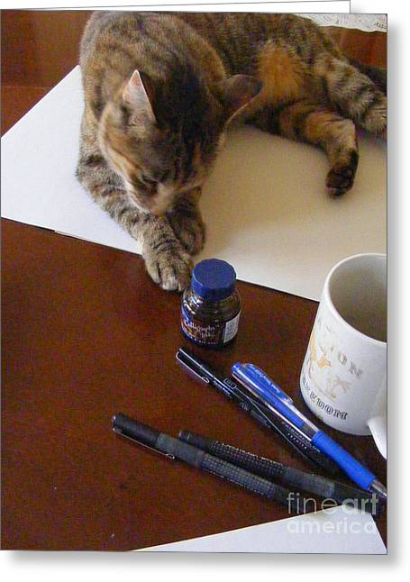 Pen And Paper Greeting Cards - My Art Assistant Greeting Card by Nancy Kane Chapman