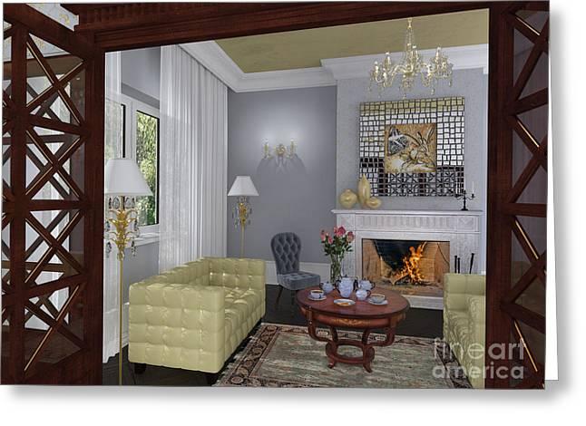 Elena Yakubovich Digital Art Greeting Cards - My Art In The Interior Decoration -Butterfly in the English house- Elena Yakubovich Greeting Card by Elena Yakubovich