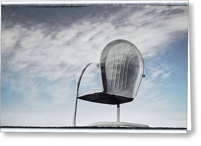 Lawn Chair Greeting Cards - My Backyard has a Very Big Sky Greeting Card by Mary Lee Dereske