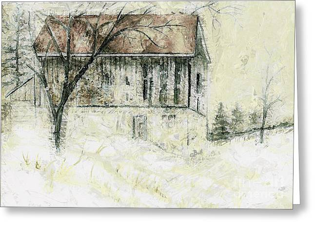 Claire Bull Greeting Cards - Caledon Barn Greeting Card by Claire Bull