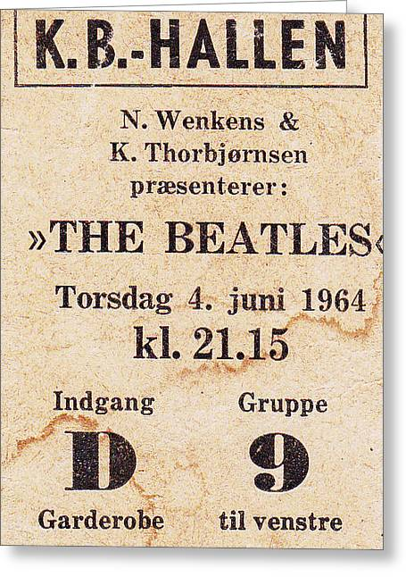 Kim Photographs Greeting Cards - My Beatles concert ticket 1964 Greeting Card by Kim Lessel