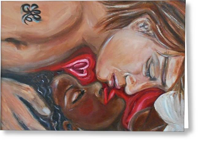 Interracial Art Greeting Cards - My Beauty Sleeping Greeting Card by Yesi Casanova