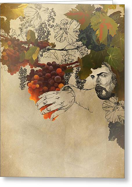 Grape Leaves Mixed Media Greeting Cards - My Beloved is the Best Among Ten Thousand Greeting Card by Sarah Wathen