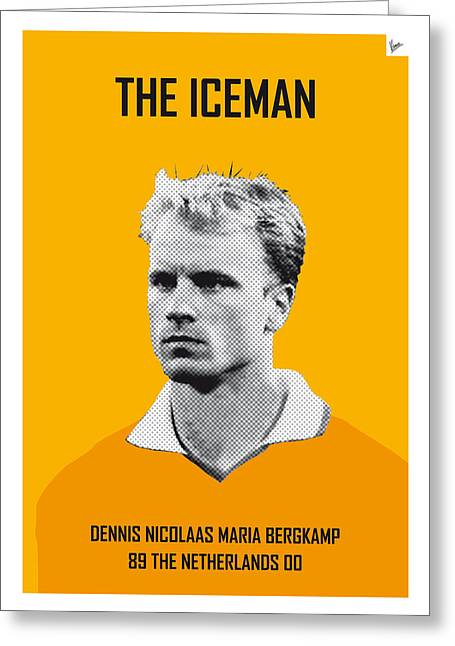 Cup Greeting Cards - My Bergkamp soccer legend poster Greeting Card by Chungkong Art