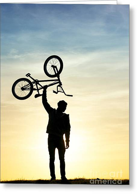 Off-road Greeting Cards - BMX Biking Greeting Card by Tim Gainey