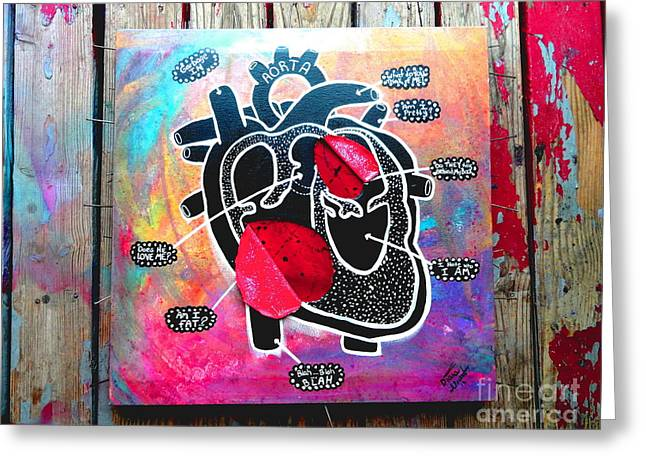 My Black Heart Greeting Card by Diana Almand
