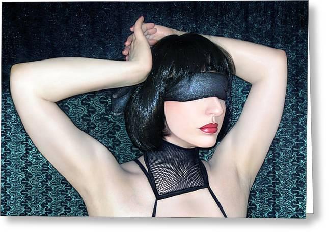 Blindfold Greeting Cards - My Blind Reality - Self Portrait Greeting Card by Jaeda DeWalt