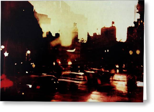 Abstract Rain Greeting Cards - 102nd street East Harlem Greeting Card by Reena Nemirovsky