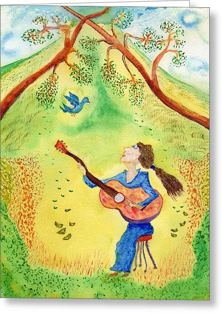 Player Greeting Cards - My Bluebird Sings Greeting Card by Jim Taylor