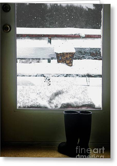 Snowstorm Greeting Cards - My Boots Greeting Card by Cindi Ressler