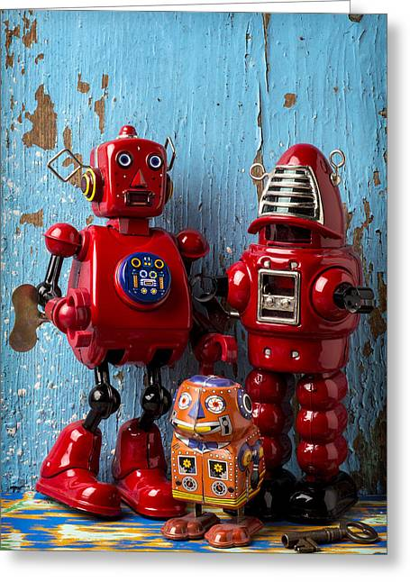 Robotic Life Greeting Cards - My bots Greeting Card by Garry Gay