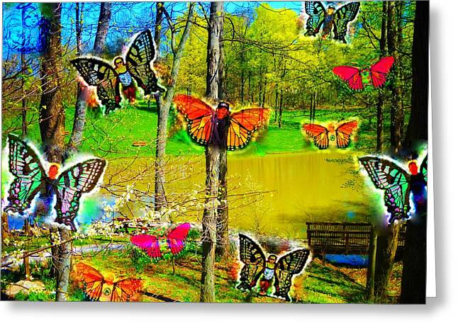 Morphing Digital Greeting Cards - My Butterflies Greeting Card by Jennifer McGuire