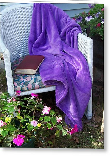 Purple Robe Photographs Greeting Cards - My Chair Greeting Card by Kathleen Luther