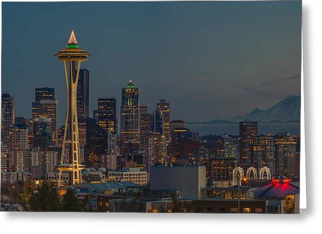 Seattle Center Greeting Cards - My City Greeting Card by Gene Garnace