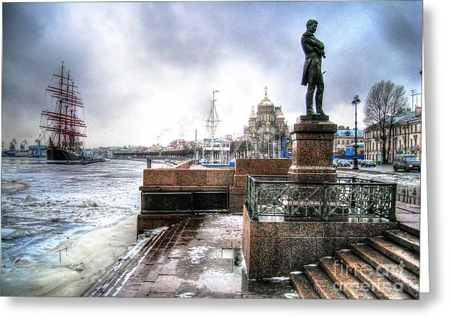 Tour Pyrography Greeting Cards - my city Peterburg Greeting Card by Yury Bashkin