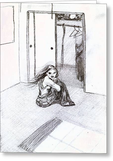 Psychology Drawings Greeting Cards - My Closet Greeting Card by Kd Neeley