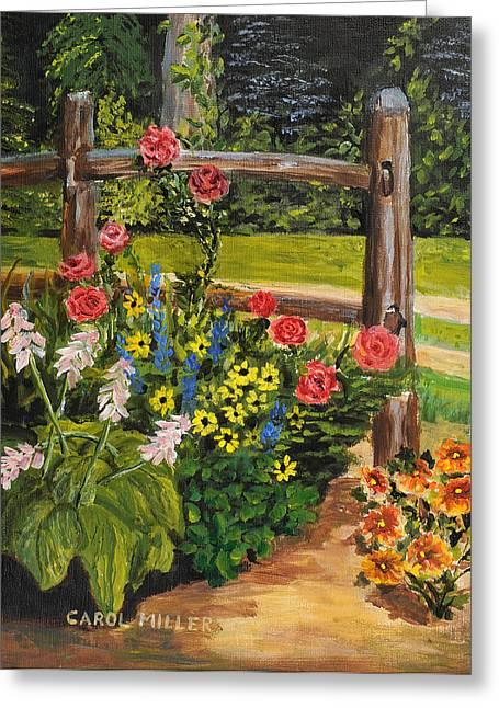 Split Rail Fence Greeting Cards - My Corner Flower Garden Greeting Card by Carol L Miller