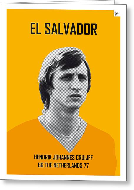 Cup Greeting Cards - My CRUIJFF soccer legend poster Greeting Card by Chungkong Art