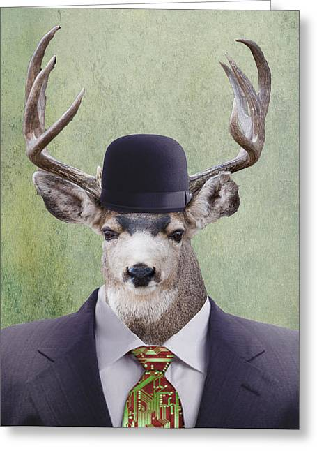 Suit And Tie Greeting Cards - My Deer Man Greeting Card by Juli Scalzi