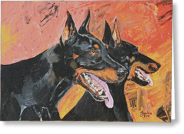 Janina Suuronen Art Greeting Cards - My dobermans Greeting Card by Janina  Suuronen