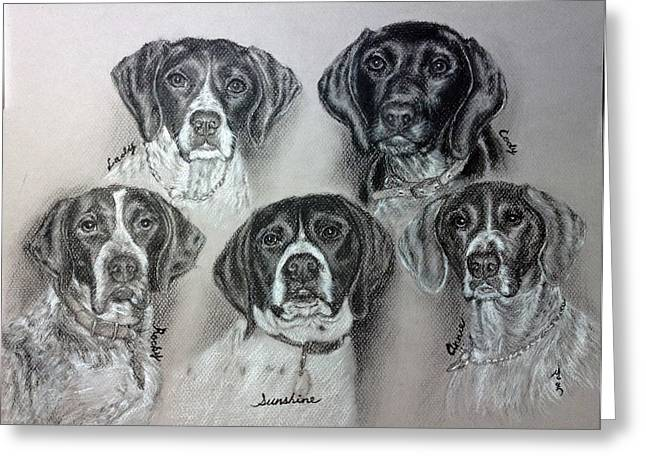 Memorial Day Drawings Greeting Cards - My Dogs In My Life Time Greeting Card by Sun Sohovich