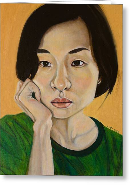 Self-portrait Greeting Cards - My Dreams Beginning Greeting Card by Lucy Chen