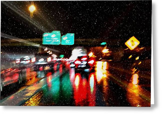 Sleet Greeting Cards - My Drive Home Greeting Card by Diana Angstadt