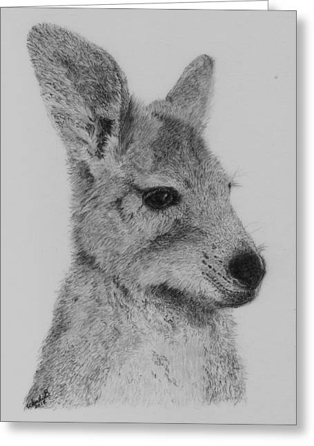 Kangaroo Drawings Greeting Cards - My Duncan Greeting Card by Wendy Brunell