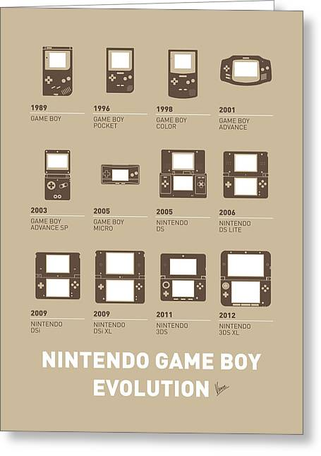 Console Greeting Cards - My Evolution Nintendo game boy minimal poster Greeting Card by Chungkong Art