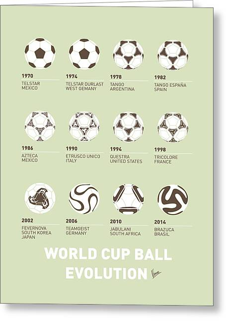 Products Greeting Cards - My Evolution Soccer Ball minimal poster Greeting Card by Chungkong Art