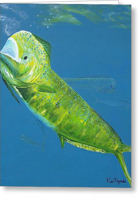 Bull Dolphin Greeting Cards -  Prized Dolphin Painting Greeting Card by Ken Figurski