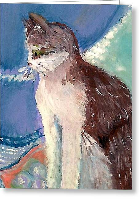 Maine Spring Paintings Greeting Cards - My Fair Kitty Greeting Card by MarLa Hoover