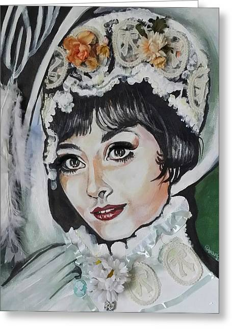 Musical Film Mixed Media Greeting Cards - My fair lady- Audrey Hepburn  Greeting Card by Maria Thatcher
