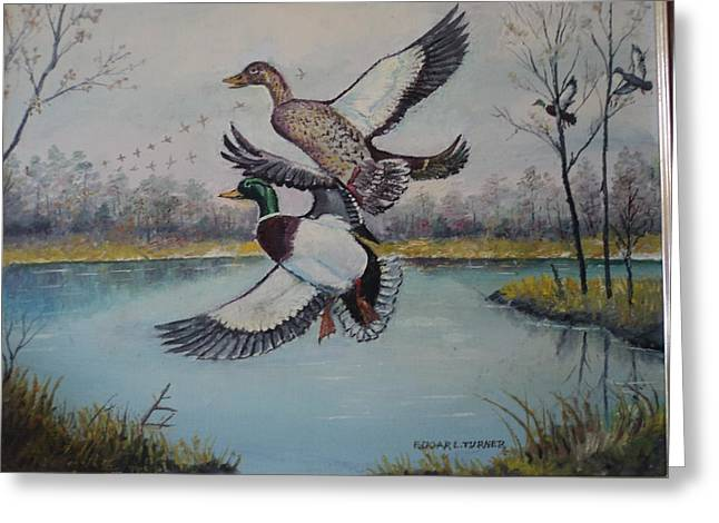 Wildife Paintings Greeting Cards - My Fathers Geese Painting Greeting Card by Anne-Elizabeth Whiteway