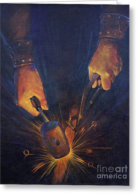 Manufacturing Paintings Greeting Cards - My fathers hands Greeting Card by Rob Corsetti