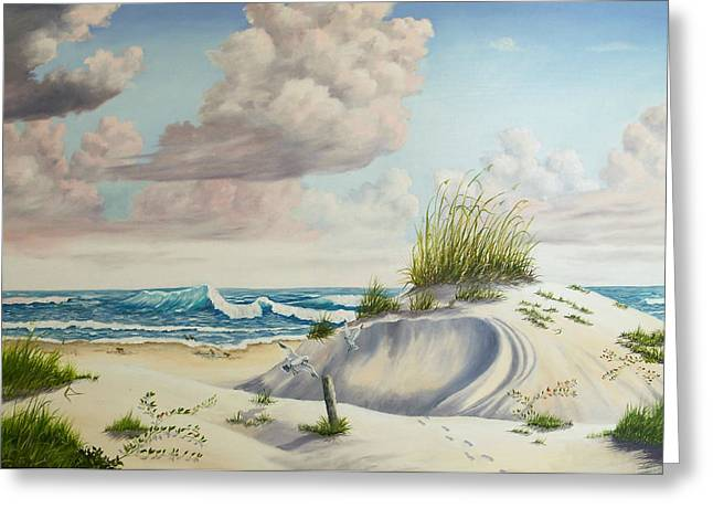 Sand Dunes Paintings Greeting Cards - My Favorite Beach II Greeting Card by Wanda Dansereau