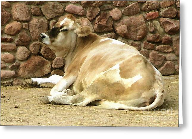 Ledge Greeting Cards - My Favorite Cow Greeting Card by Cristophers Dream Artistry
