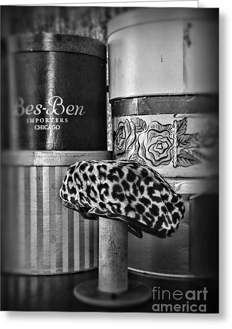 Hat Box Greeting Cards - My Favorite Hat in Black and White Greeting Card by Paul Ward