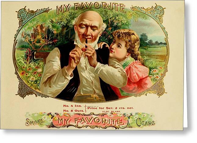 Cigar Drawings Greeting Cards - My Favorite Vintage Cigar Advertisement Greeting Card by Movie Poster Prints