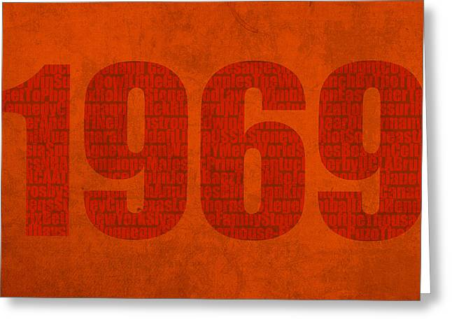 My Art Greeting Cards - My Favorite Year 1969 Word Art on Canvas Greeting Card by Design Turnpike