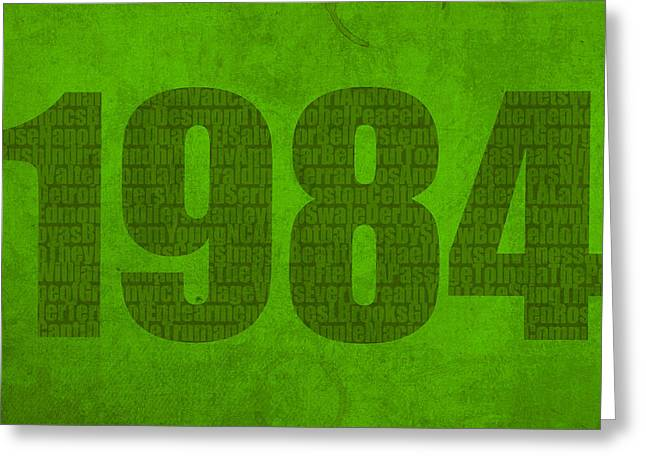 Art On Canvas Greeting Cards - My Favorite Year 1984 Word Art on Canvas Greeting Card by Design Turnpike