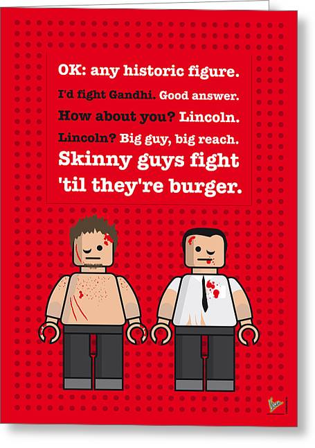 Fought Greeting Cards - My Fight club lego dialogue poster Greeting Card by Chungkong Art