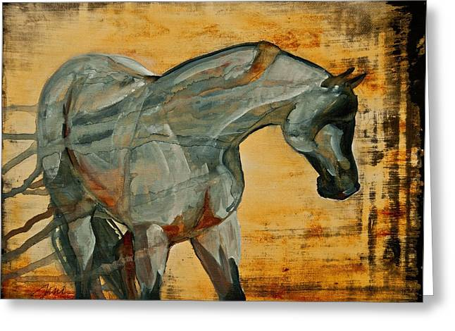 Horse Images Mixed Media Greeting Cards - My Final Notice  Greeting Card by Jani Freimann