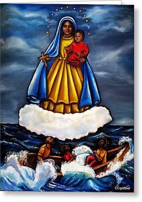 Baby Jesus Mixed Media Greeting Cards - My First Caridad del Cobre  Greeting Card by Carmen Cordova